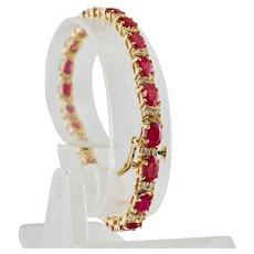 Ruby Diamond Tennis Bracelet 22.84cttw 14K Yellow Gold