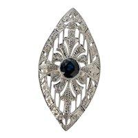 Art Deco Sapphire Ring Shield 18K White Gold Cocktail