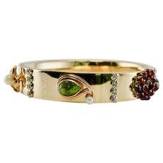 Peridot Garnet Diamond Charm Bracelet 14K Gold Bangle