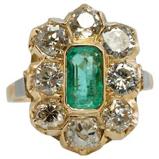 Colombian Emerald Diamond Ring Antique Vintage Old Mine 18K Yellow Gold