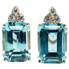Aquamarine Diamond Earrings 14K Yellow Gold