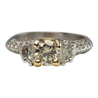Diamond Ring Platinum Band Half Moon Engagement