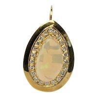Diamond Australian Opal Pendant Teardrop 14K Gold