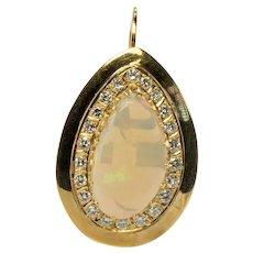 Opal Diamond Pendant Large Convertible 14K Yellow Gold Tag $5150