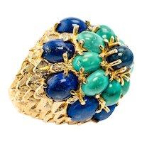 Turquoise Lapis Lazuli Ring 14K Gold Cocktail Vintage
