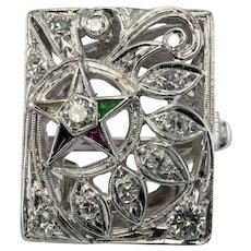 Masonic Eastern Star Masons Diamond Ring 14K White Gold
