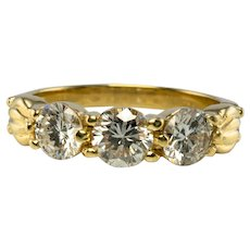 Three Stone Diamond Ring 18K Gold Band Vintage Estate 1.40 TDW