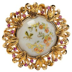 Art Nouveau Ruby Brooch Flower Pendant 18K Gold Enamel