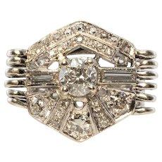 Genuine Diamond Ring Art Deco Old Mine cut Platinum
