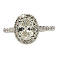 Diamond Halo Ring 14K White Gold 1.76 TDW