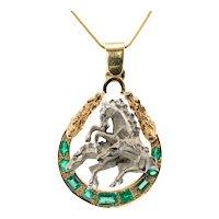 Diamond Emerald Horse Pendant 18K Gold Animal Jewelry