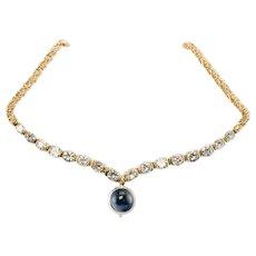 Sapphire Cabochon Diamonds Necklace Grosse Germany 1970 14K Yellow Gold