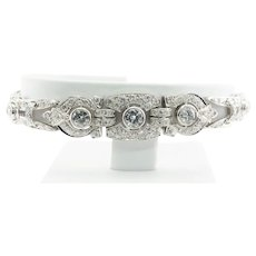 Art Deco Natural Diamond Bracelet 18K White Gold Original Box Genuine Diamonds