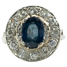Genuine Mine cut Diamonds Blue Sapphire Ring 14K Gold circa 1920s