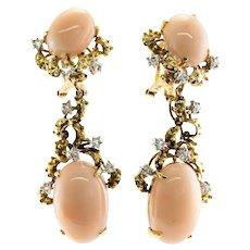 Gump's Angel Skin Coral Trillion Diamond Dangle Earrings 14K Gold