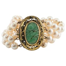 Akoya Cultured Pearl Carved Jade Bracelet 14K Yellow Gold