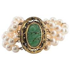 Akoya Pearl Carved Jade Bracelet 14K Gold Vintage