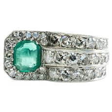 Natural Colombian Emerald Diamond Ring 14K White Gold