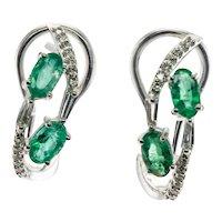 ZEN Diamond Emerald Earrings Pendant Set 18K White Gold