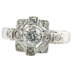 Diamond Ring 14K White Gold Band Vintage Estate .68 TDW