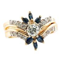 Diamond Sapphire Flower Ring Double Guard Set 14K Gold