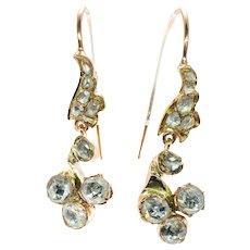 Georgian Diamond Dangle Earrings 14K Yellow Gold Rose cut Diamonds