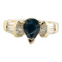 Diamond Sapphire Ring 18K Gold Band Vintage Estate