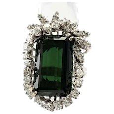 Diamond & Green Tourmaline Ring 14K Gold Cocktail