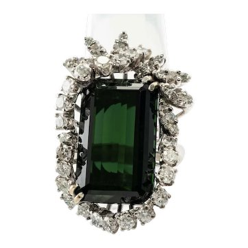 Diamond & Green Tourmaline Ring 14K Gold Cocktail