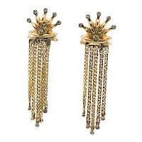 Diamond Earrings Crown Sun 14K Gold Dangle Drop Tassels