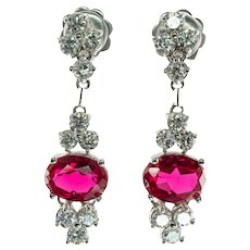 Diamond Ruby Earrings 14K White Gold Dangle