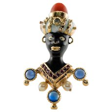 Blackamoor Sapphire Diamond Coral Ruby Pendant 14K Gold Brooch