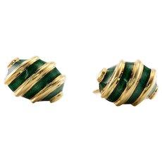 Tiffany Schlumberger Earrings Green Enamel 18K 14K Gold Screw backs