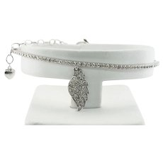 Diamond Bracelet Angel Wing Heart Charm 14K Gold