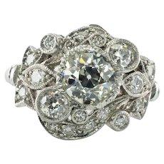 Art Deco Diamond Ring Flower Platinum 1.20 ct Center