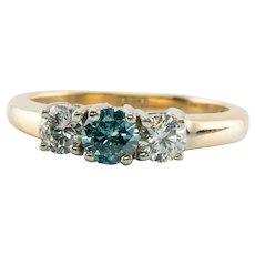 Three Stone Blue & White Diamond Ring 14K Gold Band