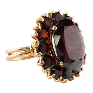 Red Garnet Ring 18K Gold Cocktail Vintage Estate 10.0ct