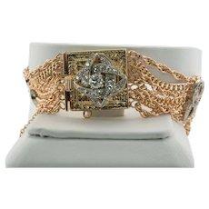 Art Deco Diamond Bracelet 14K Rose Gold Chain