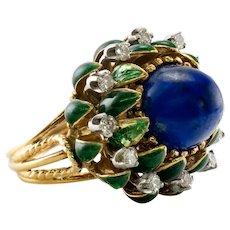 La Triomphe Lapis Lazuli Diamond Ring 18K Gold France