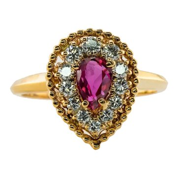 Jabel Ruby Diamond Ring 18K Gold Teardrop Vintage