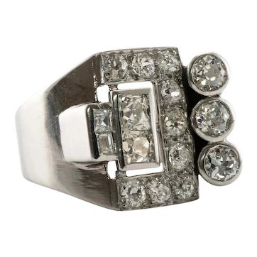 Art Deco Diamond Ring Platinum Band 2.02 TDW c.1920s