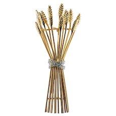 Tiffany and Co Wheat Sheaf Diamond Brooch Pin 18K Gold & Platinum