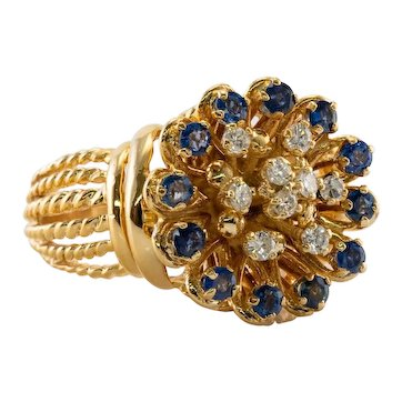 Diamond Sapphire Ring 18K Gold Floral Vintage Estate