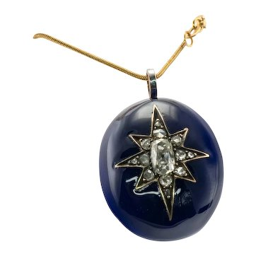Victorial Blue Enamel Diamond Pendant 14K Gold Star