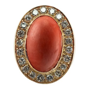 Diamond Red Sea Coral Ring 14K Gold Band Vintage
