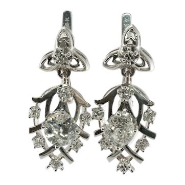 Diamond Earrings 14K White Gold Floral Dangle 2.36 TDW