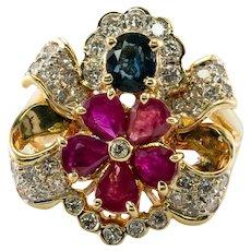 Diamond Sapphire Ruby Ring 18K Gold Flower Vintage