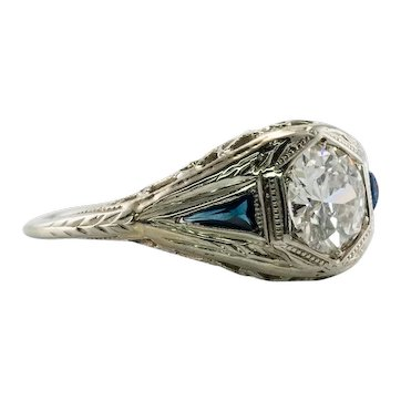 Diamond Sapphire Ring  Vintage 18K Gold by BELAIS