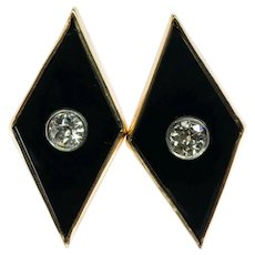 Old mine cut Diamonds Black Onyx Earrings Art Deco Rhomb 14K Gold