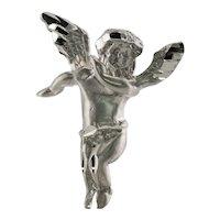 Angel Pendant Cherub Solid 14K White Gold